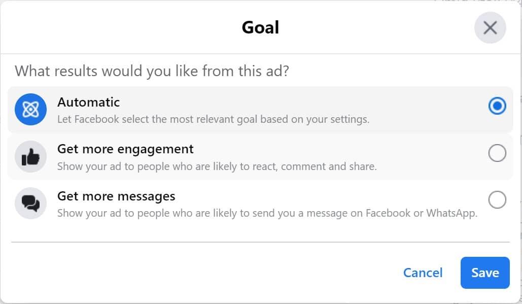 Facebook Boost Post Goals