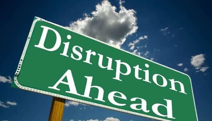 digital business disruption sign board