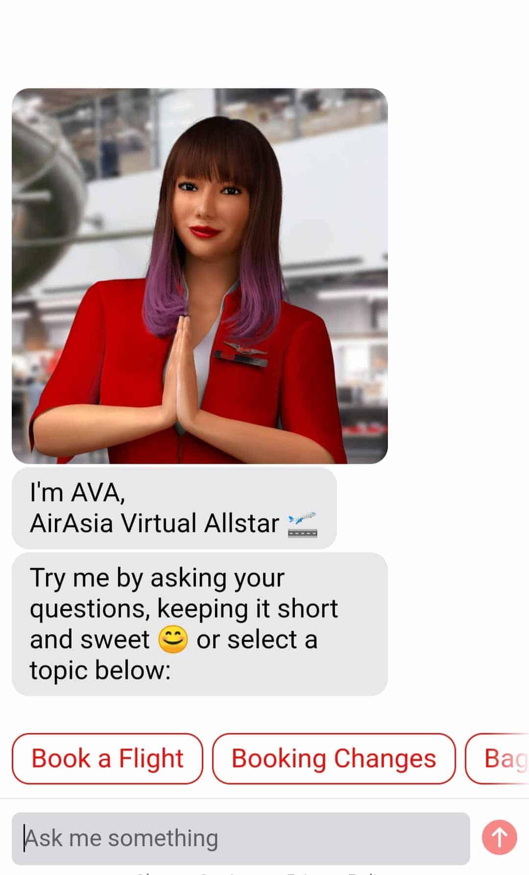AVA, Airasia's virtual assistant bot