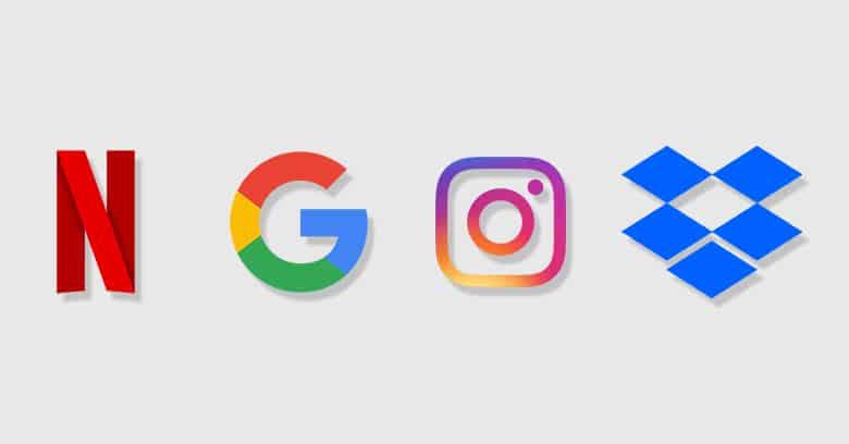 netflix, google, instagram, dropbox logo with grey background